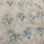 Silver - Flourishing Mesh Lace Overlay by Eastern Mills - Many Size Options