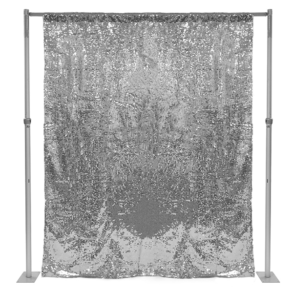 Silver Sequin Backdrop Curtain W 4 Rod