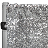 "Silver Sequin Backdrop Curtain w/ 4"" Rod Pocket by Eastern Mills - 14ft Long x 4.5ft Wide"
