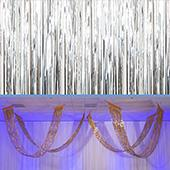 Silver - Metallic Fringe Ceiling Curtain - Choose your Length