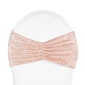 Premade Velvet Ruffle Stretch Chair Band - Blush/Rose Gold