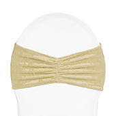 Premade Velvet Ruffle Stretch Chair Band - Champagne