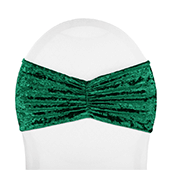 Premade Velvet Ruffle Stretch Chair Band - Emerald Green