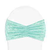 Premade Velvet Ruffle Stretch Chair Band - Light Turquoise