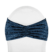 Premade Velvet Ruffle Stretch Chair Band - Navy Blue