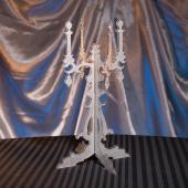 "Silver Acrylic Glitter Candelabra Centerpiece - 14"" Tall"