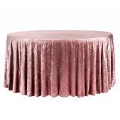 "Premade Velvet Tablecloth - 132"" Round - Dark Dusty Rose"