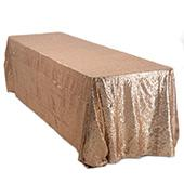 "Rectangle 90"" X 156"" Sequin Tablecloth by Eastern Mills - Premium  Quality - Taupe"