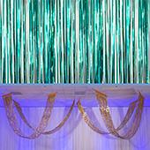 Teal - Metallic Fringe Ceiling Curtain - Choose your Length