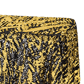 2 Tone Flip Up Reversible Sequin Tablecloth - Gold and Black - Size Options