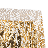 2 Tone Flip Up Reversible Sequin Tablecloth - Gold and White - Size Options