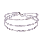 OASIS Atlantic Brand Crystal Cuff Floral Wristlets - Triple Strand Silver - 1/Pack