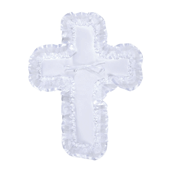 "OASIS Cross-Shaped Pillow - 13 1/4"" White Organza - 1/Pack"