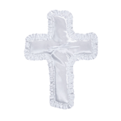 "OASIS Cross-Shaped Pillow - 13"" White Satin - 1/Pack"