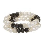 OASIS Handy Accent Beaded Wristlets - Double Strand - Black