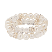OASIS Handy Accent Beaded Wristlets - Double Strand - White