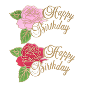 "Happy Birthday Balloon OASIS Floral Picks and Cardholder - 4 1/2"" Rose- 12/Pack"