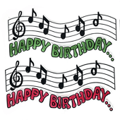 "Happy Birthday Balloon OASIS Floral Picks and Cardholder - 4 1/4"" Musical Notes - 12/Pack"
