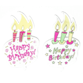"Happy Birthday Balloon OASIS Floral Picks and Cardholder - 4"" Cake - 12/Pack"