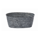 "OASIS Oval Tin Pots - Galvanized - 8-1/2"" - 12/Case"
