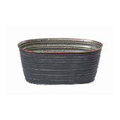"OASIS Oval Tin Pots - Slate - 8-1/2"" - 12/Case"