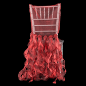 Spiral Taffeta & Organza Chair Back Slip Cover - Apple Red