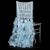 Spiral Taffeta & Organza Chair Back Slip Cover - Baby Blue