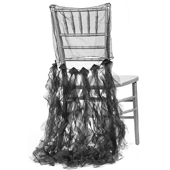 Spiral Taffeta & Organza Chair Back Slip Cover - Black