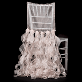 Spiral Taffeta & Organza Chair Back Slip Cover - Blush / Rose Gold