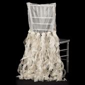 Spiral Taffeta & Organza Chair Back Slip Cover - Champagne