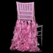 Spiral Taffeta & Organza Chair Back Slip Cover - Fuchsia