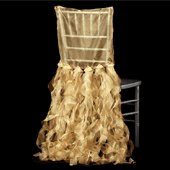 Spiral Taffeta & Organza Chair Back Slip Cover - Gold