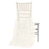 Spiral Taffeta & Organza Chair Back Slip Cover - Ivory