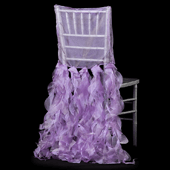 Spiral Taffeta & Organza Chair Back Slip Cover - Lilac