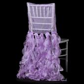 Spiral Taffeta & Organza Chair Back Slip Cover - Lilac