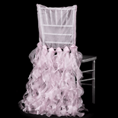 Spiral Taffeta & Organza Chair Back Slip Cover - Pink