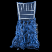 Spiral Taffeta & Organza Chair Back Slip Cover - Royal Blue