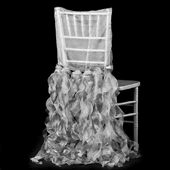 Spiral Taffeta & Organza Chair Back Slip Cover - Silver