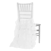 Spiral Taffeta & Organza Chair Back Slip Cover - White