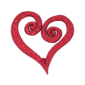 "Swirl Heart OASIS Floral Picks - 2 1/2"" Glittered Red - 12/Pack"