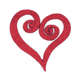 "Swirl Heart OASIS Floral Picks - 4"" Glittered Red - 12/Pack"