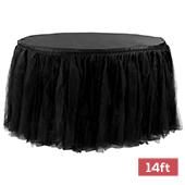 Sheer Tulle Tutu Table Skirt - 14ft long - Black