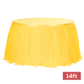 Sheer Tulle Tutu Table Skirt - 14ft long - Canary Yellow