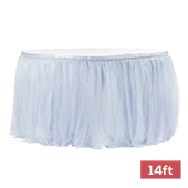 Sheer Tulle Tutu Table Skirt - 14ft long - Dusty Blue
