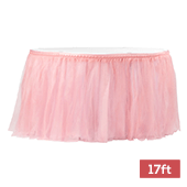 Sheer Tulle Tutu Table Skirt - 17ft long - Dusty Rose/Mauve