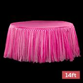 Sheer Two Tone Tulle Tutu Table Skirt - 14ft long - Fuchsia & Pink