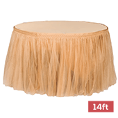Sheer Tulle Tutu Table Skirt - 14ft long - Gold