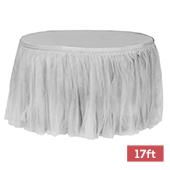 Sheer Tulle Tutu Table Skirt - 17ft long - Gray/Silver