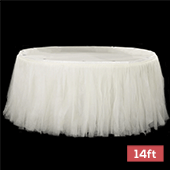 Sheer Tulle Tutu Table Skirt - 14ft long - Ivory