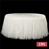 Sheer Tulle Tutu Table Skirt - 17ft long - Ivory